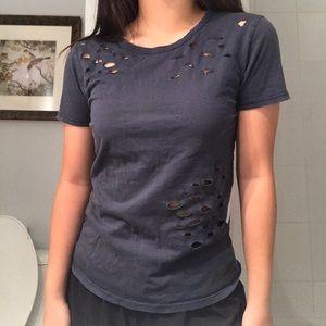 Brandy Melville Tops - BRANDY MELVILLE Navy T-Shirt